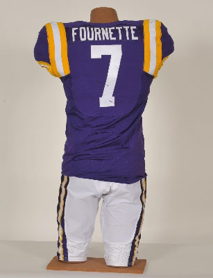 """Photo credit: LSUauction.net. """"This game-used, one of a kind, autographed No. 7 jersey was worn by Heisman Trophy candidate Leonard Fournette during the Oct. 10, 2015, football game between LSU and South Carolina."""""""